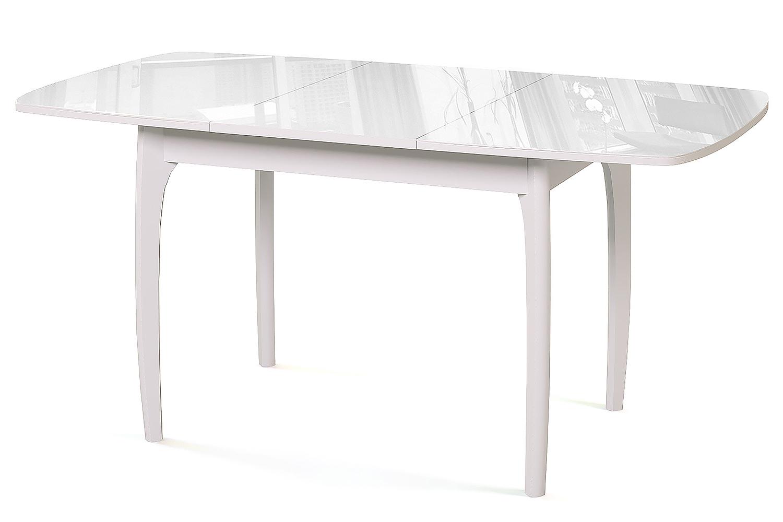 Стол обеденный М15 ДН4 белый/стекло белое Ангстрем фото